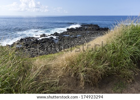 trail to Kaena point, the most western point on the island of Oahu, Hawaii - stock photo