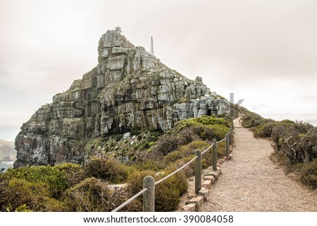 Trail to the decommissioned Cape Point lighthouse at South Africa Cape of Good Hope - stock photo