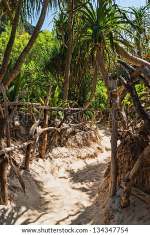 trail with a fence in the jungles of the island of Ko Phi Phi Lei in Thailand - stock photo