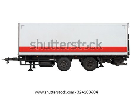 Trailer for transportation of goods isolated on white background