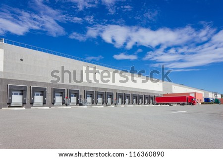 Trailers at the loading docks - stock photo