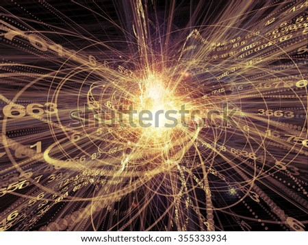 Trails of Technology series. Arrangement of particle trails, light and science related elements in three dimensional space on the subject of modern technology - stock photo