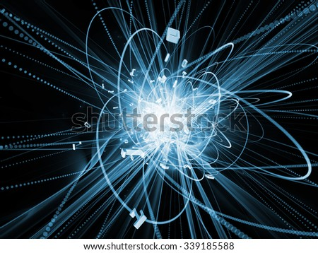 Trails of Technology series. Artistic abstraction composed of particle trails, light and science related elements in three dimensional space on the subject of modern technology - stock photo