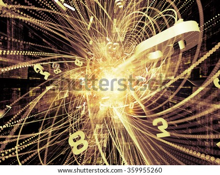 Trails of Technology series. Composition of particle trails, light and science related elements in three dimensional space on the subject of modern technology - stock photo
