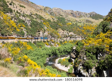 Train and coaches of Taieri Gorge tourist railway runs alongside river in a ravine on its journey up the valley - stock photo