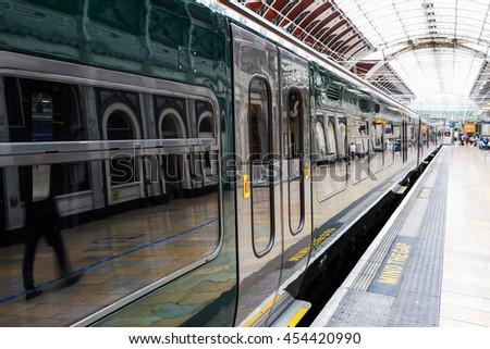 train at Paddington station in London, UK - stock photo