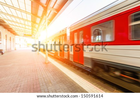 Train at Station in Vilnius - stock photo