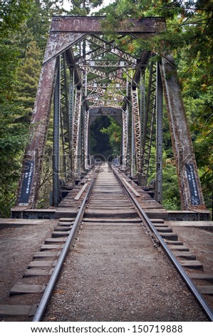 Train Bridge in  Henry Cowell Redwoods State Park, California - stock photo