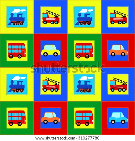 Train, Bus, Car and Fire truck children seamless pattern