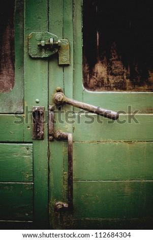 Train carriage handle - stock photo