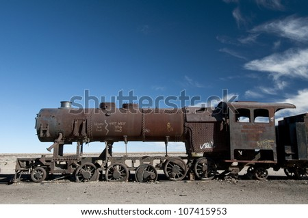 Train Cementery outside of Uyuni village, Salar de Uyuni,Potosi region,Bolivia, South America