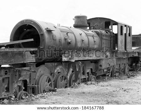 Train cemetery - Uyuni, Bolivia (black and white) - stock photo