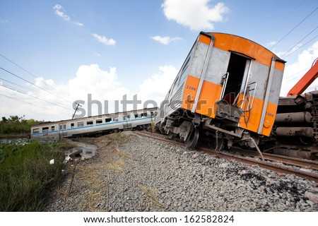 Train derailment - stock photo