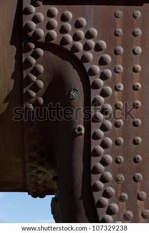 Train detail, Cementery outside of Uyuni village, Salar de Uyuni,Potosi region,Bolivia, South America - stock photo