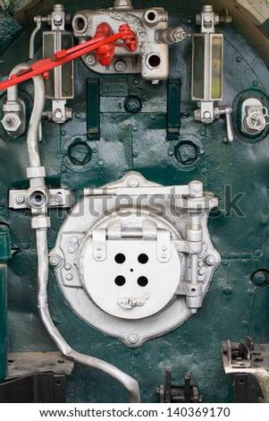 Train engine on the steam train - stock photo