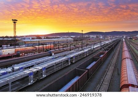 Train freight - Cargo railroad industry - stock photo