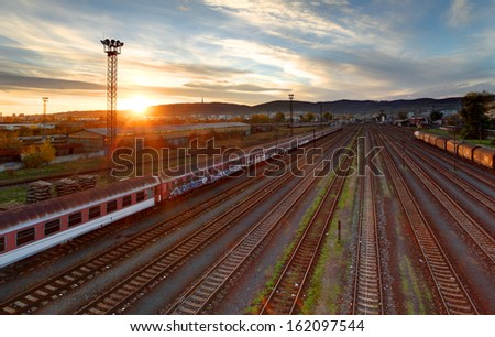 Train freight station - Cargo transportation at sunset