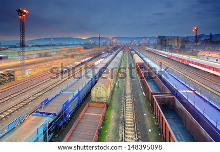 Train Freight transportation platform - Cargo transit - stock photo