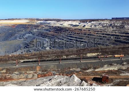 train in quarry ore mining  - stock photo