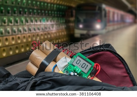Train in subway station and bomb in bag is going to detonate. Terrorism concept. - stock photo