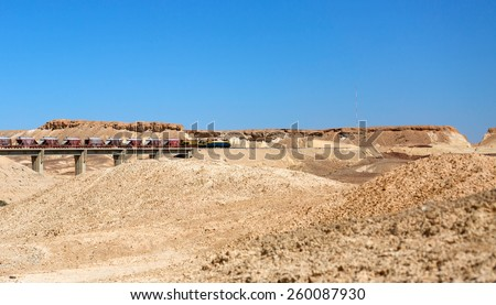 train in the Negev desert, Israel - stock photo