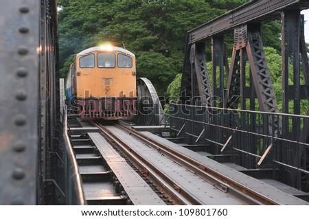 train is running on the bridge - stock photo