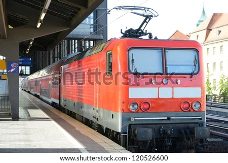 Train is waiting the passengers at the empty station in Berlin. - stock photo