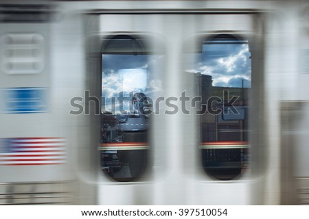 Train movement with motion blur - stock photo