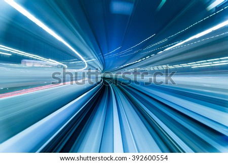 Train moving in Tunnel - stock photo