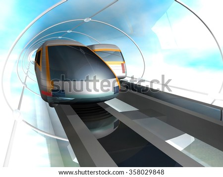 Train of future. Concept of magnetic levitation train moving in the glass tunnel with rarefied air. 3d rendering illustration. - stock photo