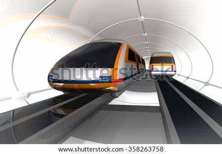 Train of future. Concept of magnetic levitation train moving in the glass tunnel with rarefied air. 3d rendering illustration.