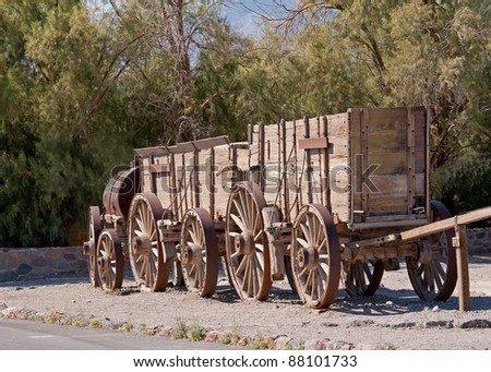 train of wagons by Death Valley California used for moving goods - stock photo