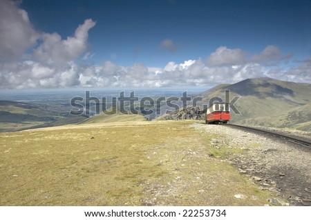 train on mount snowdon, wales, uk - stock photo