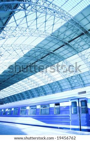 train on platform on station - stock photo