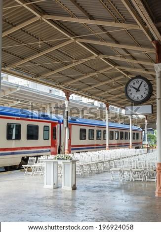 train on Sirkeci railway station near center of Istanbul, Turkey - stock photo