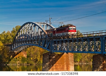 Train on the bridge - stock photo