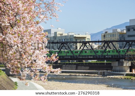 train on the bridge across river and city background - stock photo