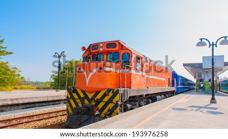 Train on the railway in Taiwan - stock photo