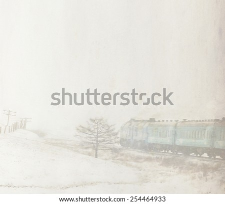 train on the winter old background with grain and blur, vintage
