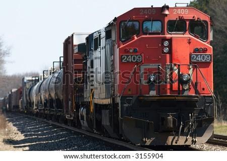 Train on tracks - stock photo