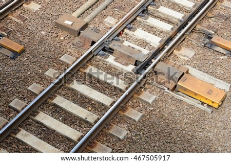 Train rails on small stones