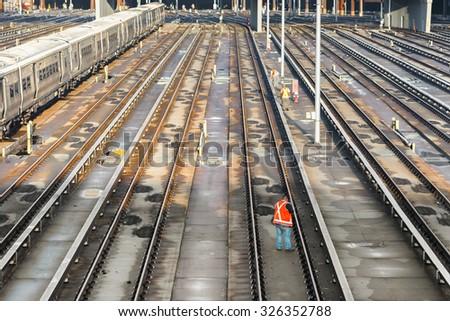 train railway station terminal at sunset - stock photo