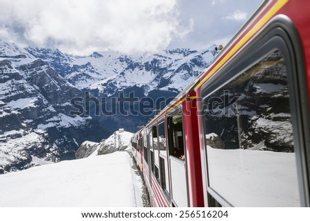 Train Ride in Jungfrau Region - stock photo