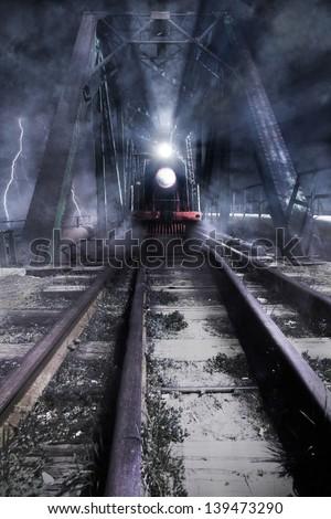 train rides over the bridge, photo manipulation - stock photo