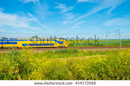 Train riding through nature in summer