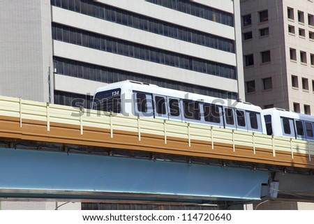 Train runs on Evelated Metro Railway ,Taipei - stock photo