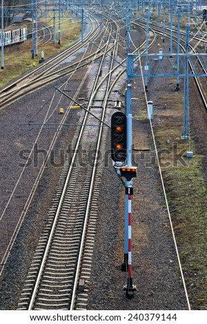 Train Semaphore - stock photo
