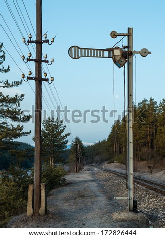 Train Semaphore mechanical. Vintage semaphore - stock photo