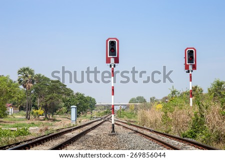 Train signals for railway and and traffic light for locomotive - stock photo
