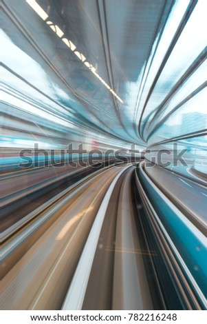 Train speeding up in the tunnel